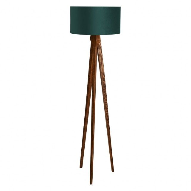 Tripod Walnut Wooden Floor Lamp With Green Velvet Shade
