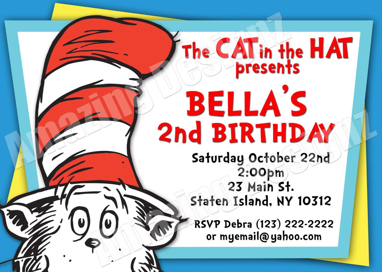 Cat in The Hat Birthday Invitation Digital File by AmazingDesignz ...