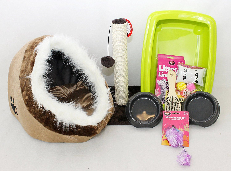meow town mdf litter box. cat kitten starter kit, set, open rim litter tray with igloo meow town mdf box o