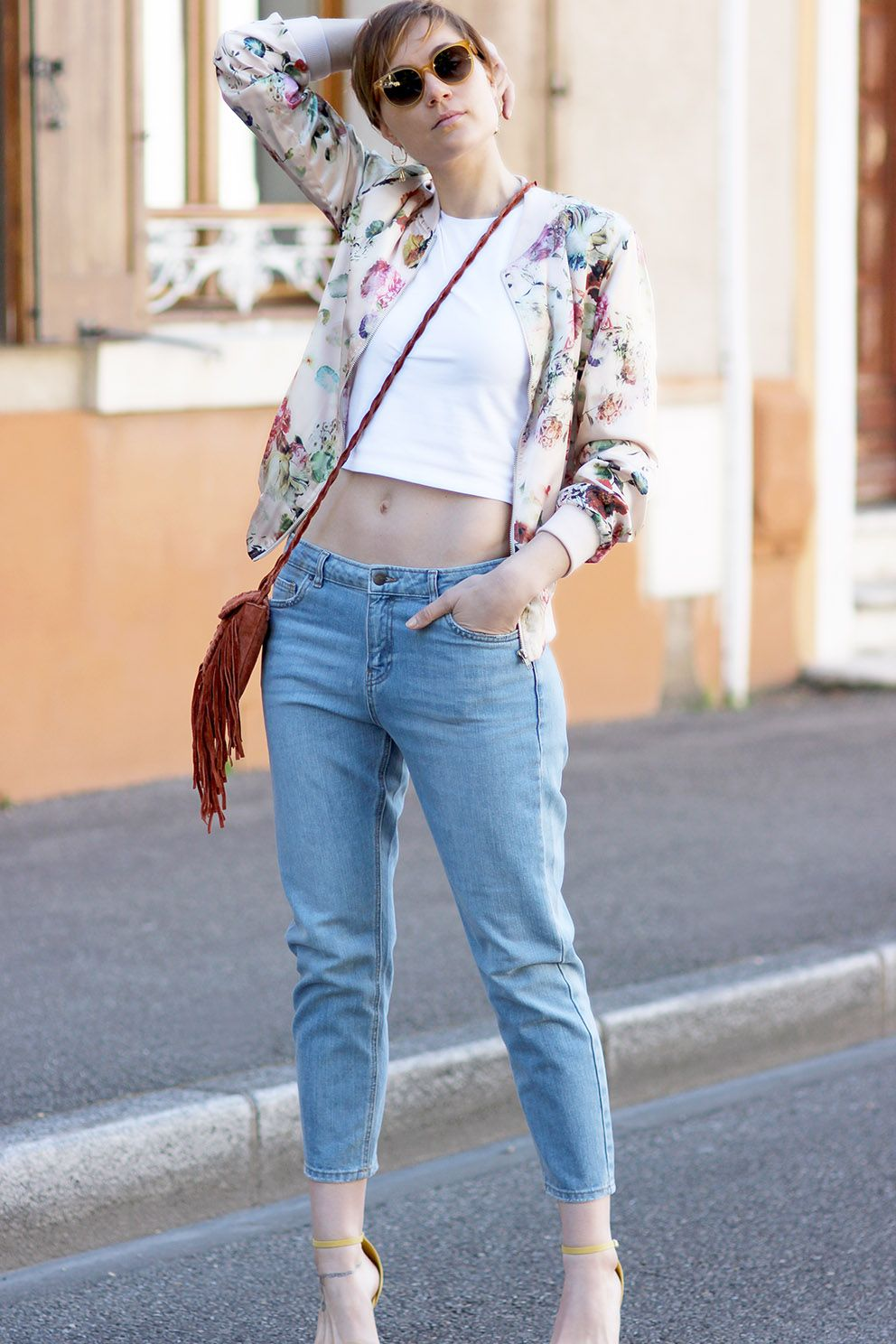 968890cbb41 AMAZING outfit with a floral bomber jacket and Celine sunglasses   leblogdartlex http
