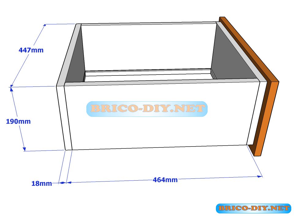 Plano y medidas de cajones de melamina para una comoda for Plano ropero melamina