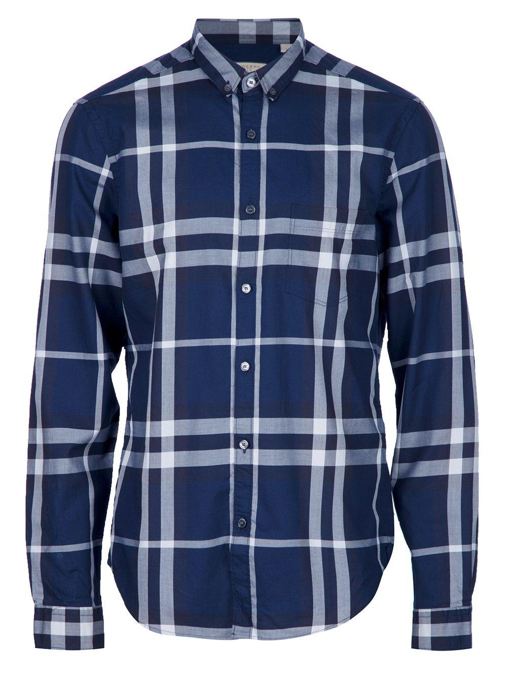 36100826513cf Burberry Brit Camisa Xadrez Azul. - Francis Ferent - farfetch.com.br ...