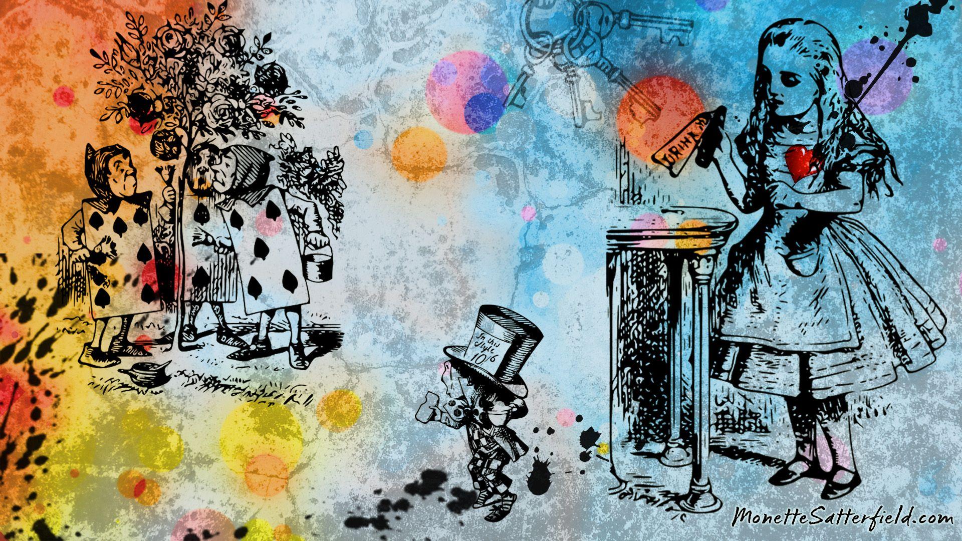 Pin By Joshlyn Epperson On Alice In Wonderland Desktop Wallpaper Art Alice In Wonderland Art Wallpaper