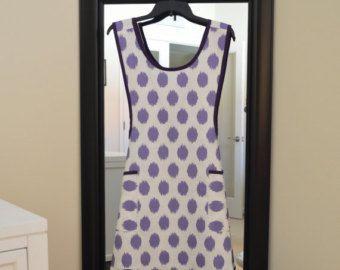 Pinafore Cross Back Apron - Vintage Style Apron - Fancy - Full Apron - Retro Apron - Smock Apron in Jo Jo Thistle Slub Fabric Purple Trim