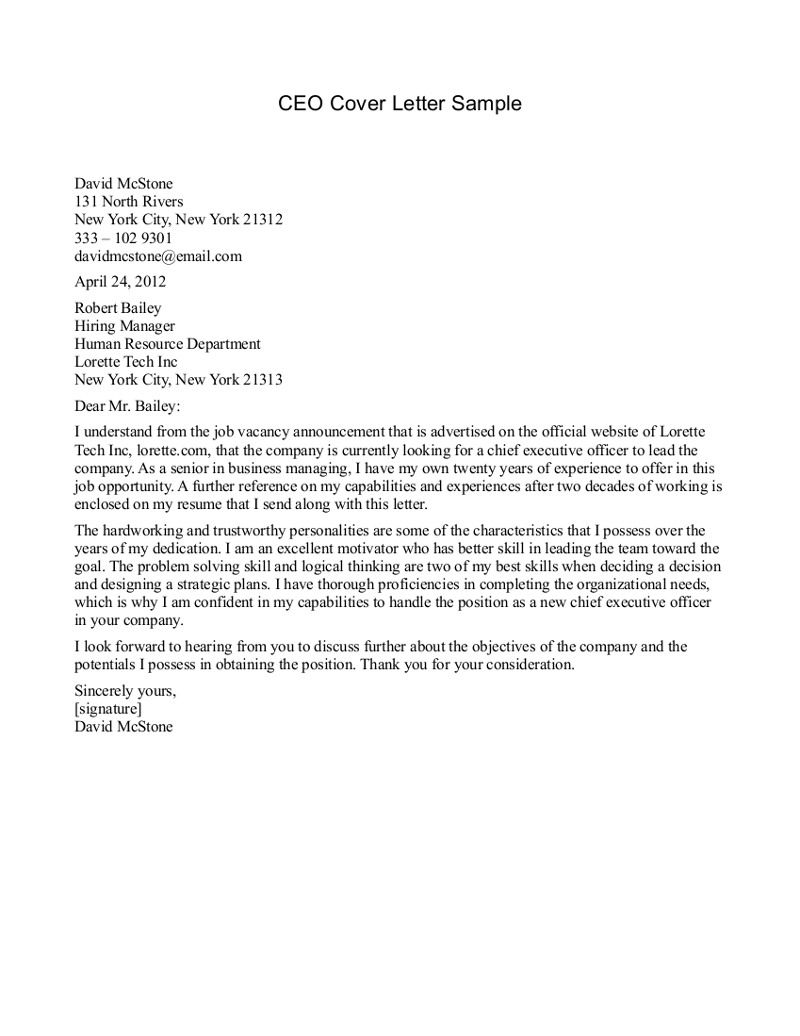CEO Cover Letter Sample CEO Cover Letter Sample – Sample Cover Letters