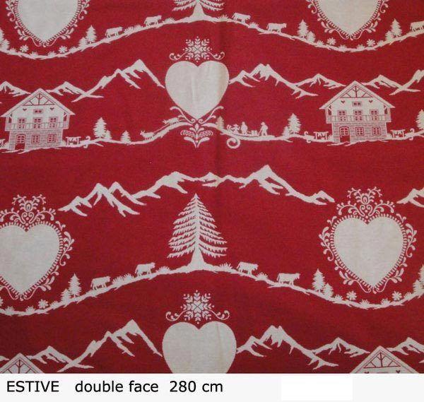 Tissu Montagne Estive Rouge Deco Montagne Tissu Felicitation
