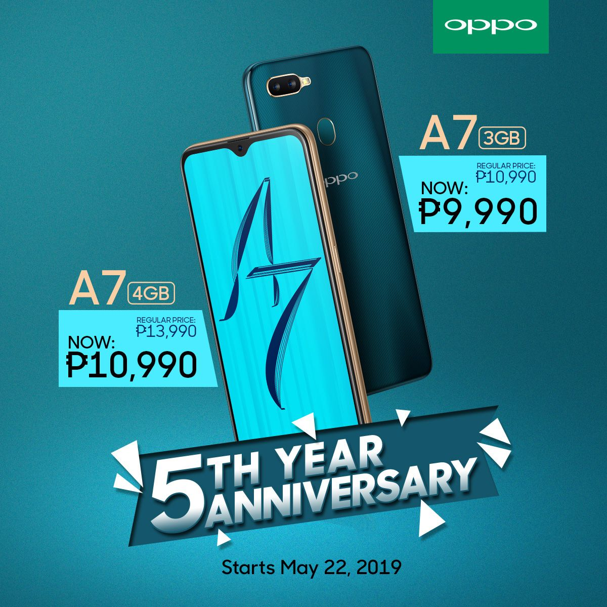 OPPO A7 3GB now 9990 Pesos and OPPO A7 4GB now 10990 Pesos!