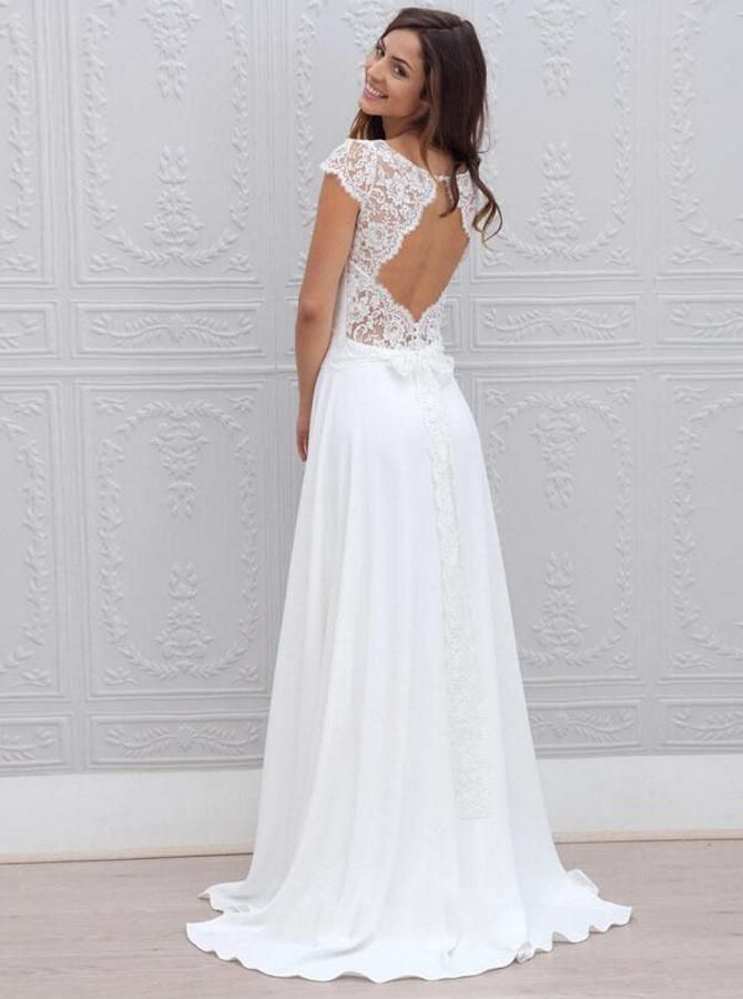 A-Line Bateau Sweep Train Open Back Chiffon Wedding Dress with Lace – Suzy's Fashion