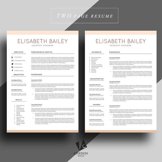 Resume template Cv template Professional resume by ChedonResume - resume builder professional
