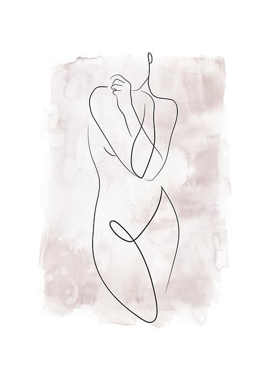 Watercolor Body Lines No2 Poster