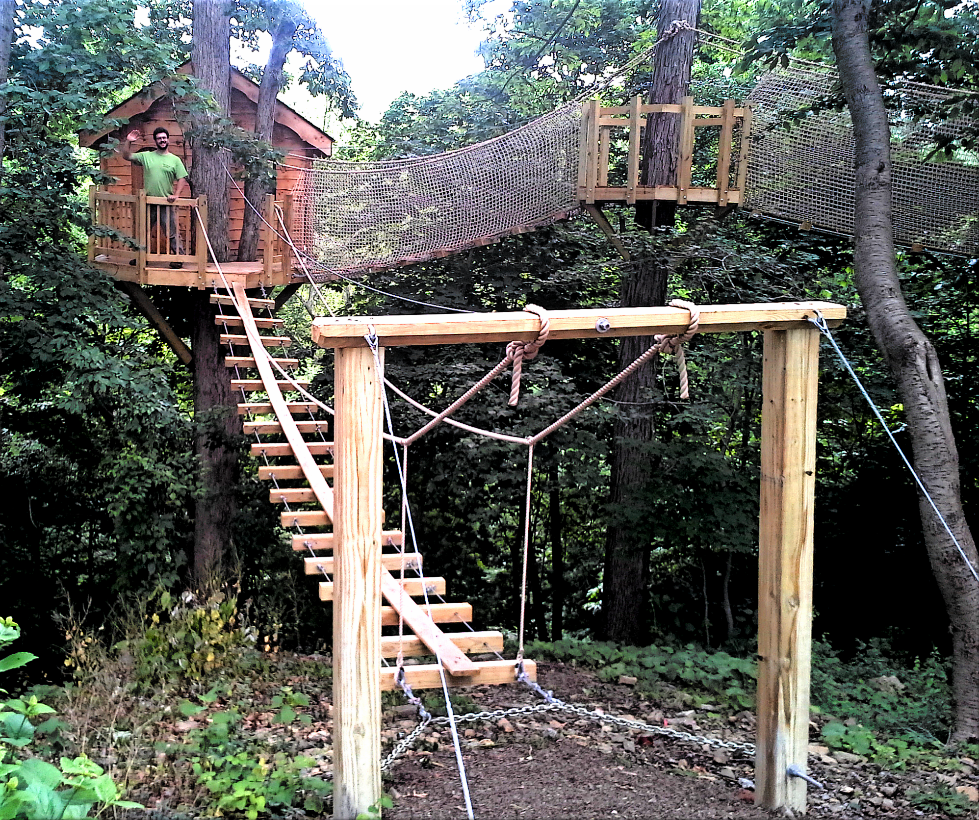 One of the most adventurous tree house projects we've ever done. Included 3