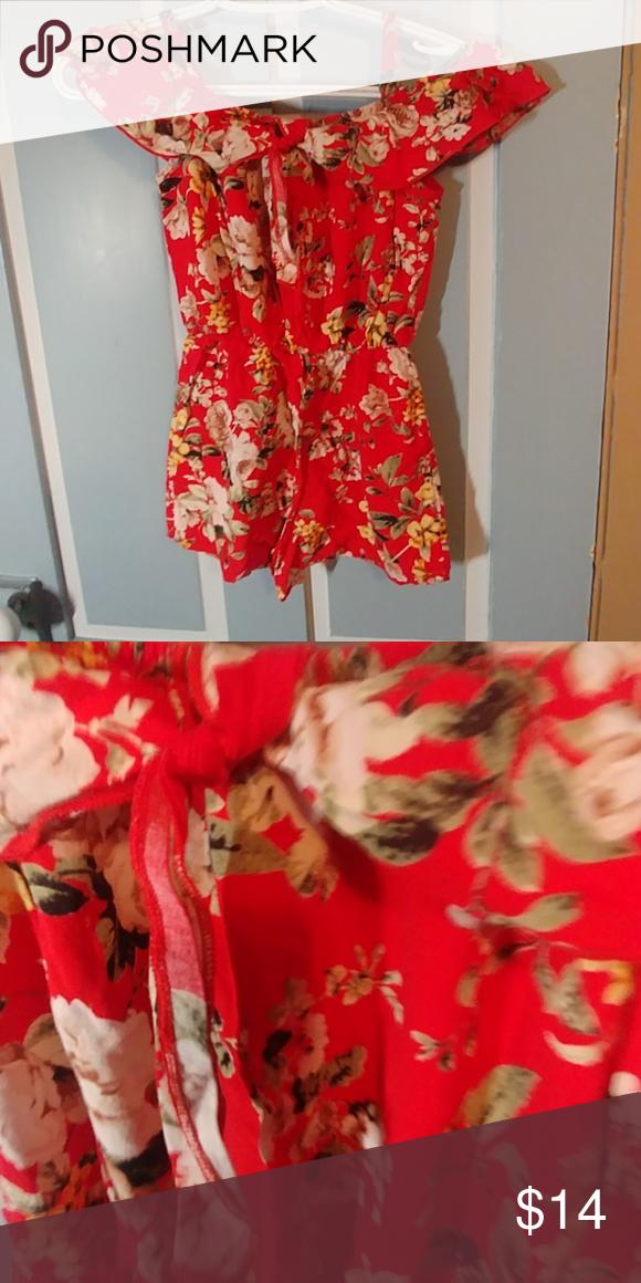 2c5e57a182da Girls cold shoulder romper Girls lightly worn red floral cold shoulder  romper.in good condition! jenna and Jessie Bottoms Jumpsuits   Rompers