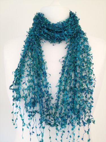 Green Blue Scarf Aqua Turquoise Fair Trade Lacy style Cobweb Shawl Lace Wrap New