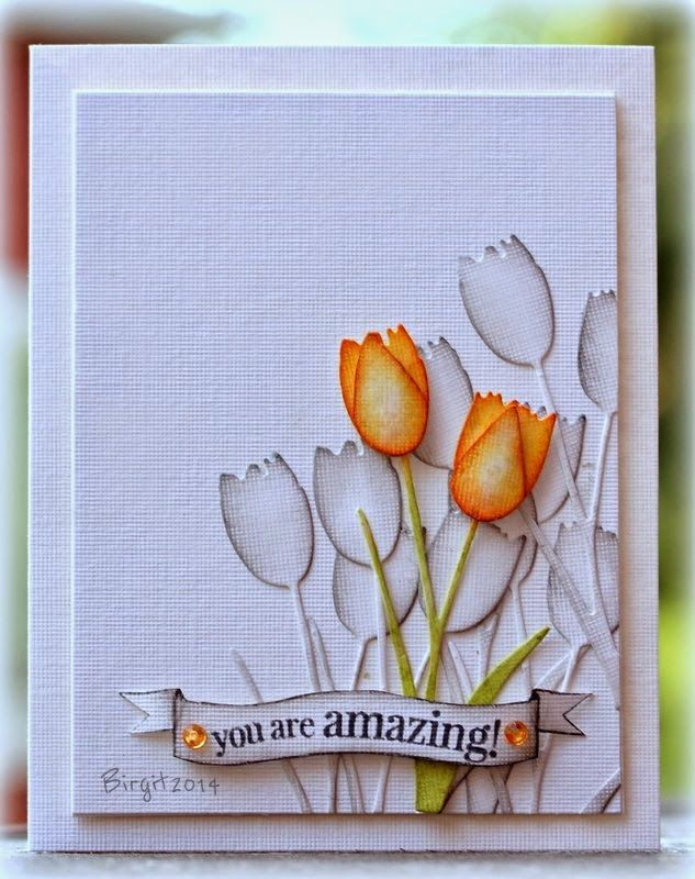 "New Tulip die ""Dainty"" and sentiment from the stamp set ""Amazing"" from Penny Black!"