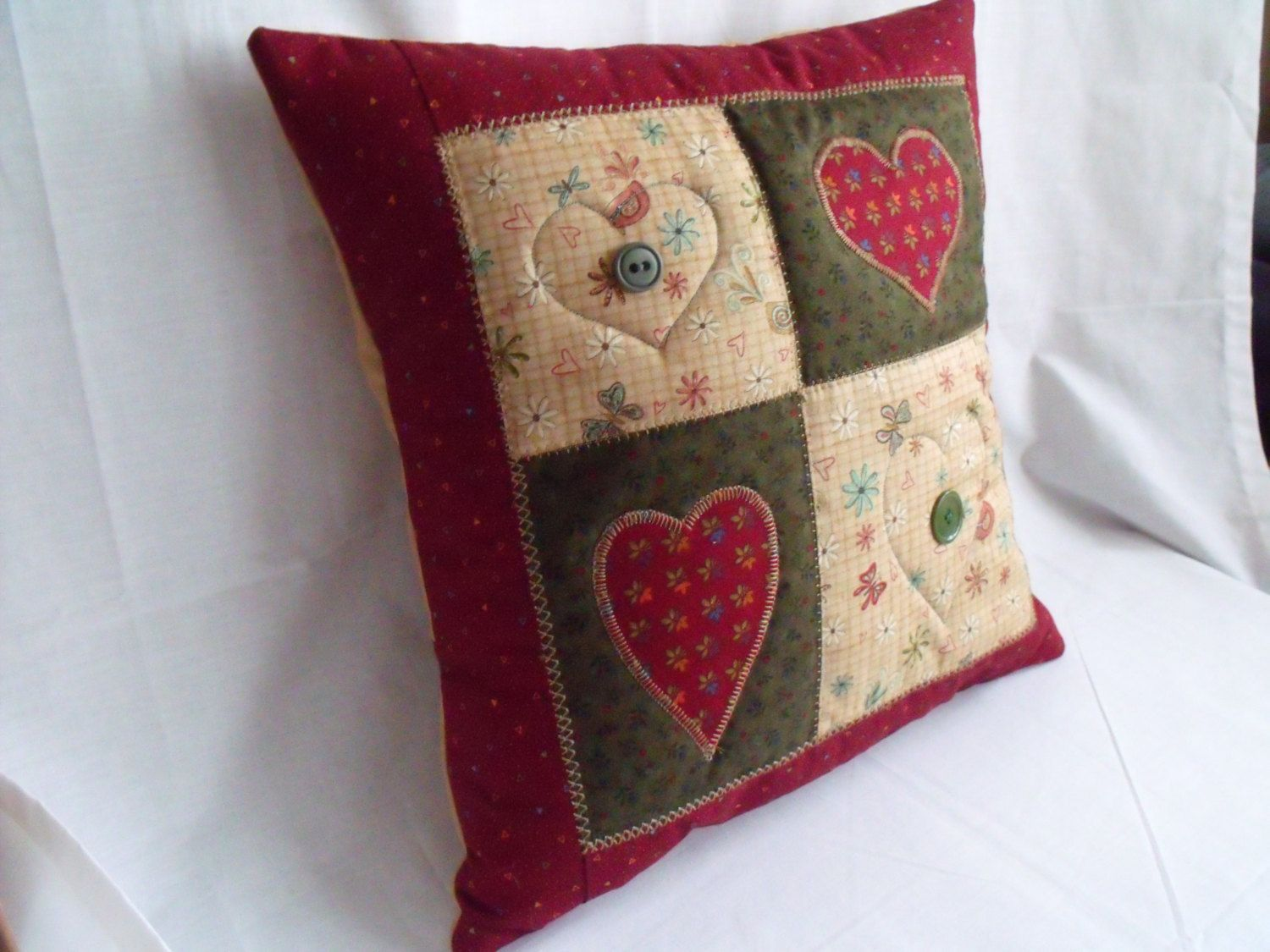 Throw accent pillow patchwork cushion cover scatter cushion folk