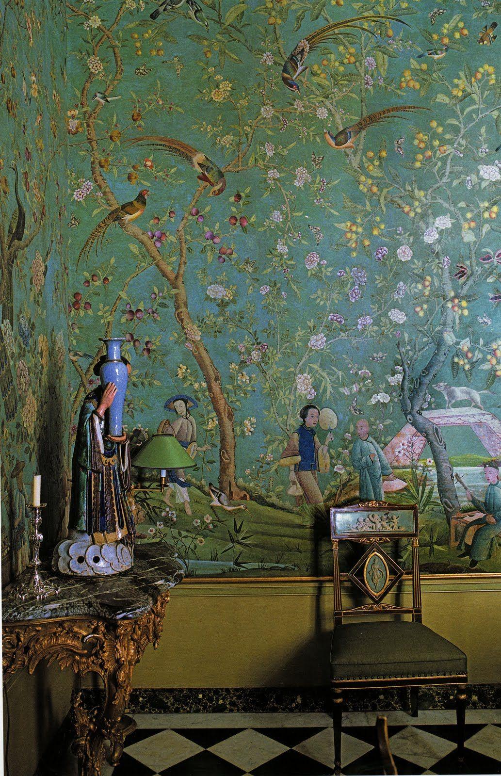 Chinoiserie pierre berge ysl interiors interior random for Chinoiserie wall mural