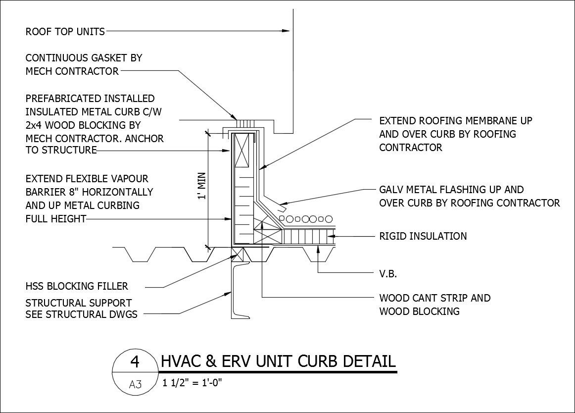 medium resolution of free cad details hvac erv unit curb detail cad design free cad blocks drawings details