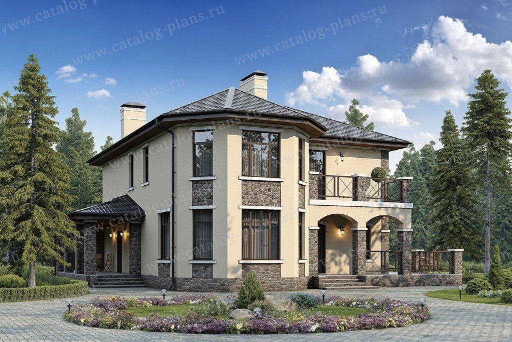 Проект дома из пенобетона, 2 этажа, с большой кухней и с ...