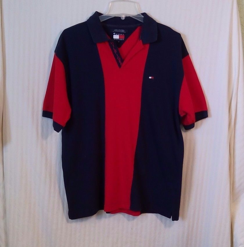 Tommy Hilfiger Medium Blue Red Wide Bowling Stripe Men's Polo Short Sleeve Shirt #TommyHilfiger #PoloRugby