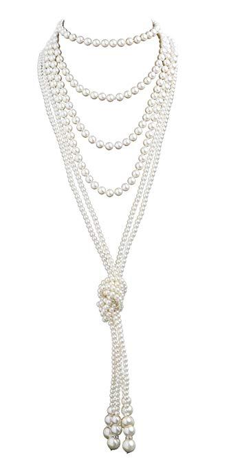 """72/"""" Long Faux Pearl Necklace Flapper Fancy Dress"""