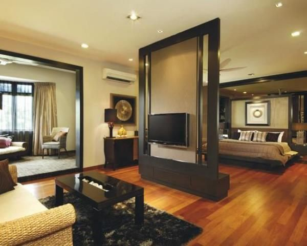 Bedroom Partition tv as partition between bedroom and living room | bedroom