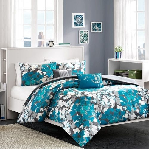 Teal Blue Floral Comforter Set Full Queen Bed Beautiful Flower