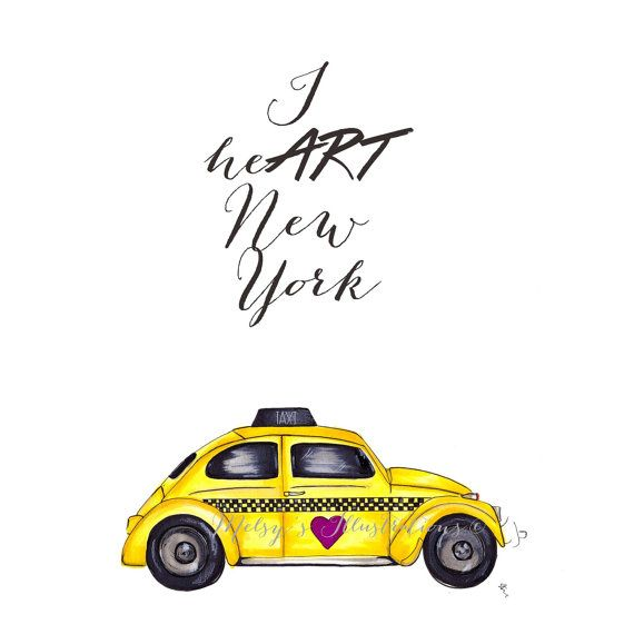 New York Taxi Street City Canvas Wall Art Picture Print Va: I HeART New York (Fashion Illustration Print) (Fashion