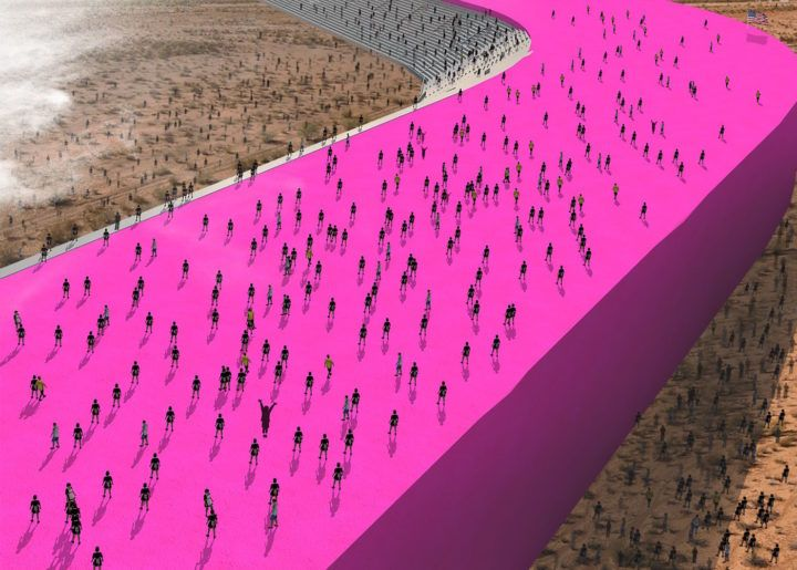 "Estudio 3.14, rendering from ""Prison Wall Project"" (2016)Mexican Architects Imagine Trump's Border Wall as a Pink Homage to Luis Barragán"