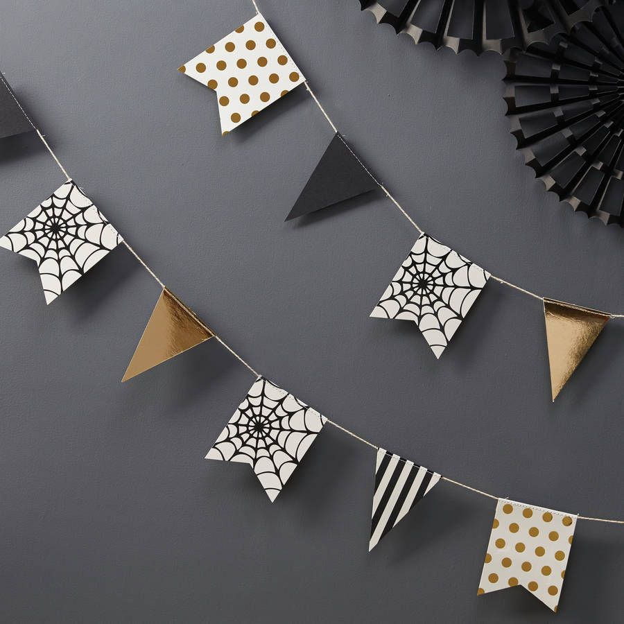 Not on the High Street . GingerRay .Gold Foiled Halloween Bunting . { black . white . gold ...
