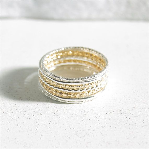 7 Dainty Stacking Rings Sterling Silver Stacking Rings Sparkle