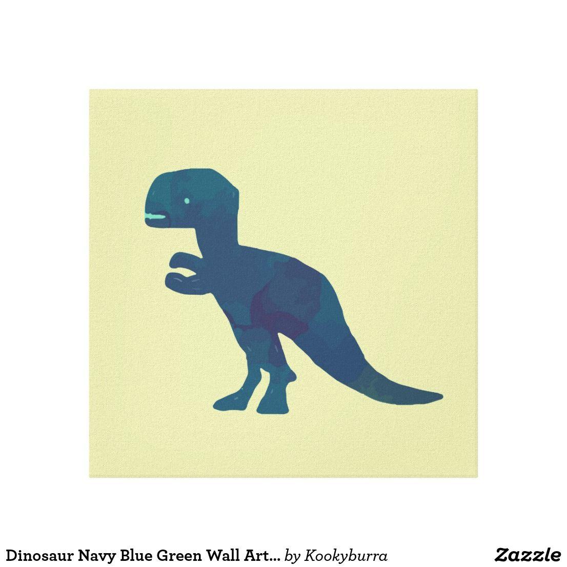 Dinosaur Navy Blue Green Wall Art Canvas - Dinosaur Nursery ...