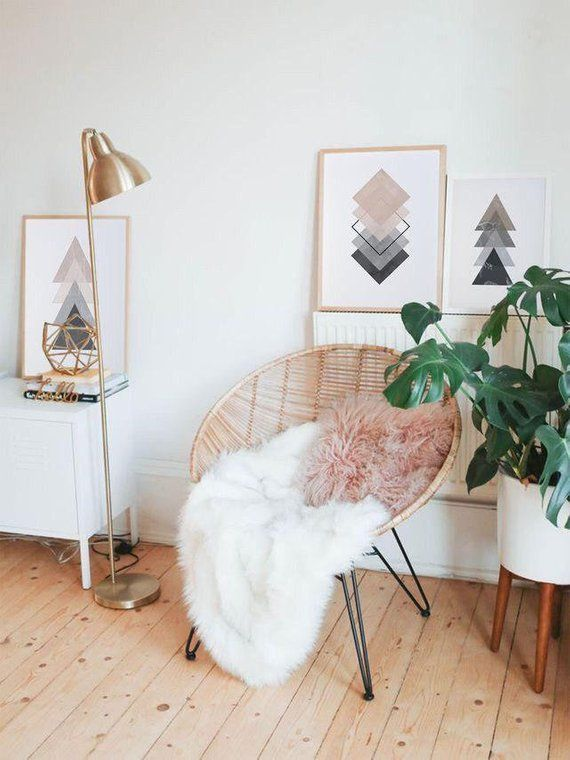 Pink & Grey Triangles Art Print, Minimalism, Geome