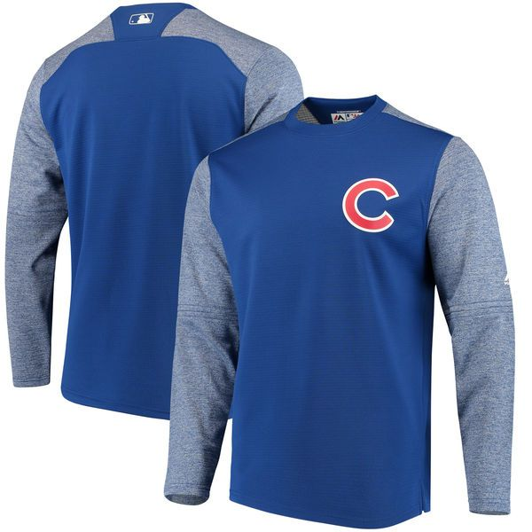 ca5b1f89d Chicago Cubs Majestic Authentic Collection On-Field Tech Fleece Pullover  Sweatshirt - Royal