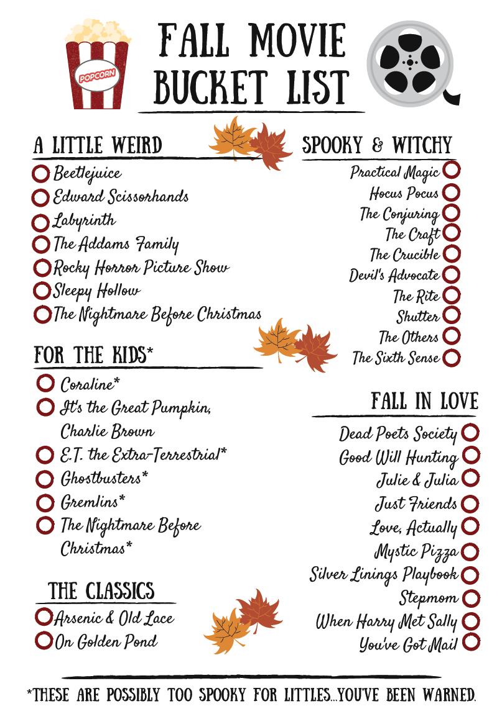 Self-Care: Fall Movie Bucket List! —  Divine Design Nutrition