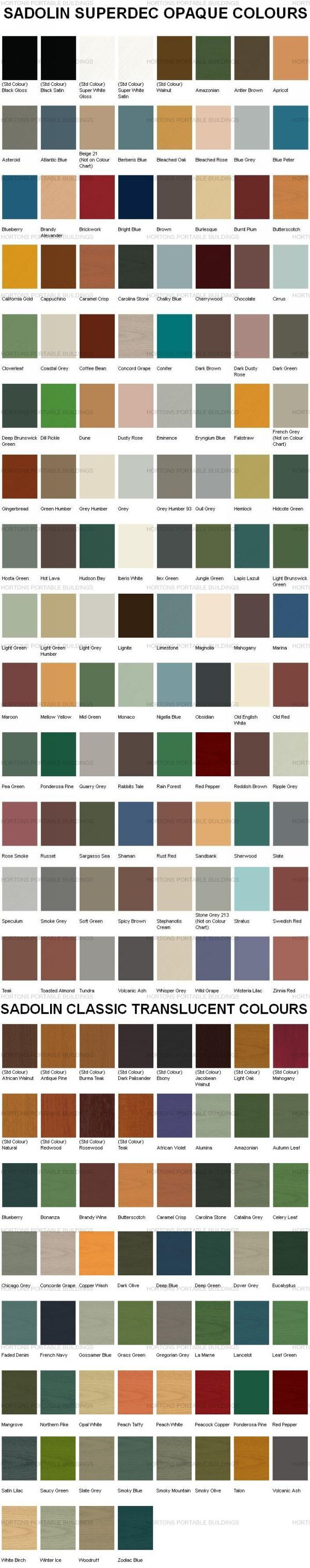 Sadolin Superdec And Classic Colour Chart Shed Colours Colorful Interiors Wood Treatment