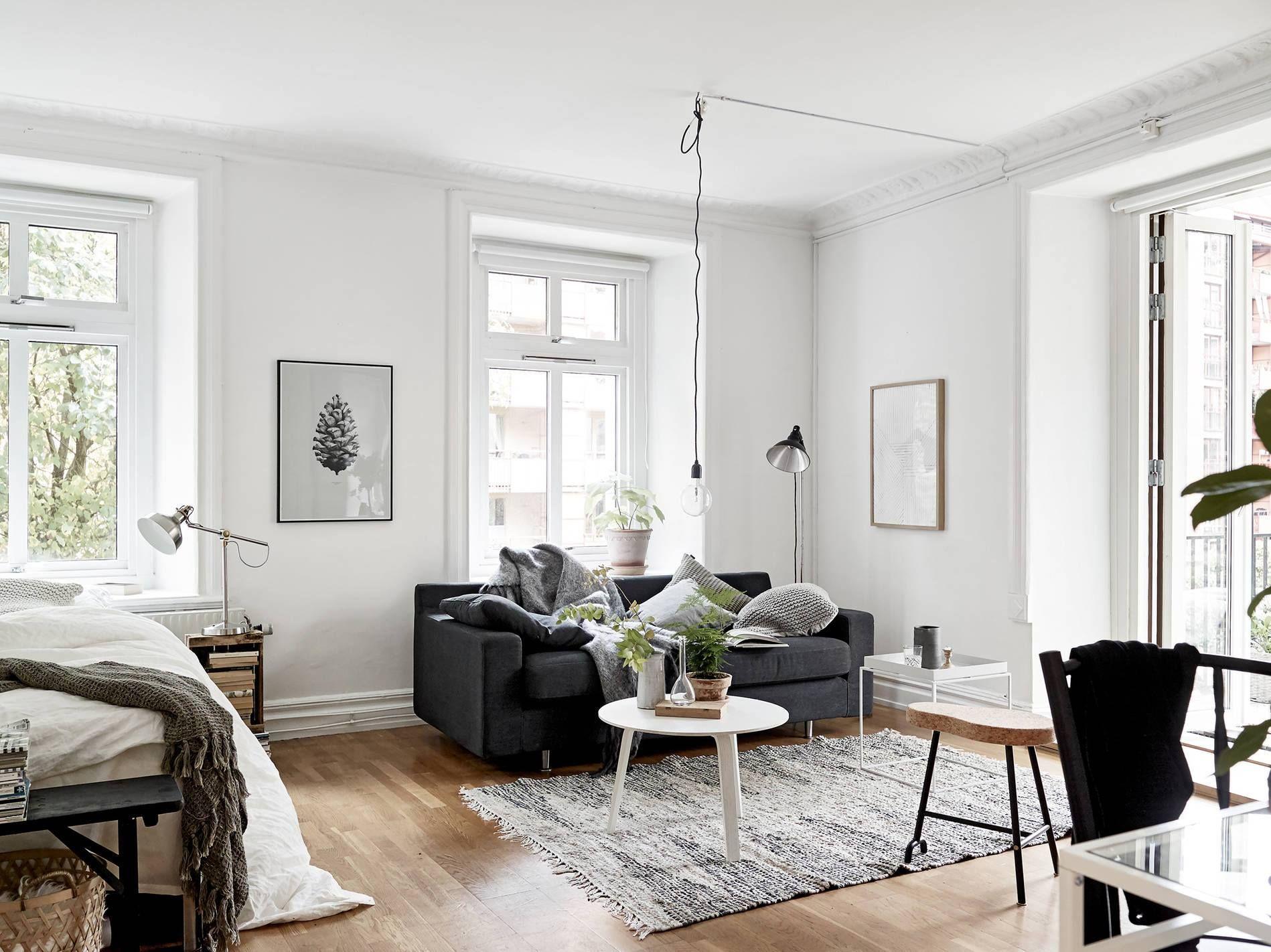 schlafzimmer und wohnzimmer in perfekter harmonie die farben wei schwarz sind einfach f r. Black Bedroom Furniture Sets. Home Design Ideas