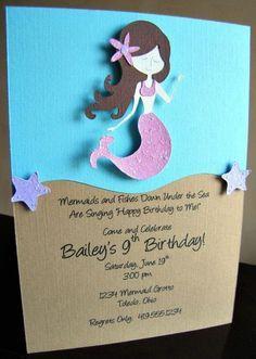 Mermaid Birthday Party Invitations Etsy