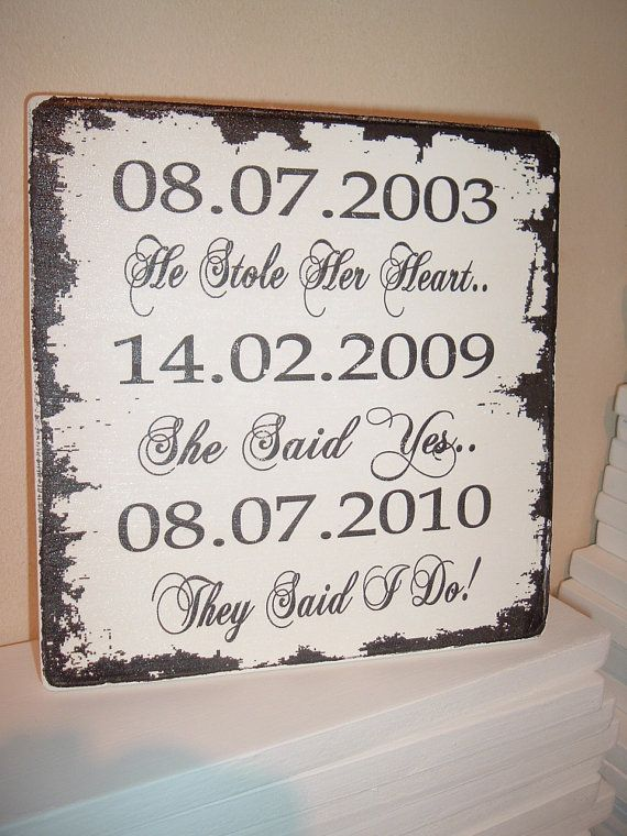 Personalised dates stole heart said yes said i do plaque distressed edges sur Etsy, 18,41 €