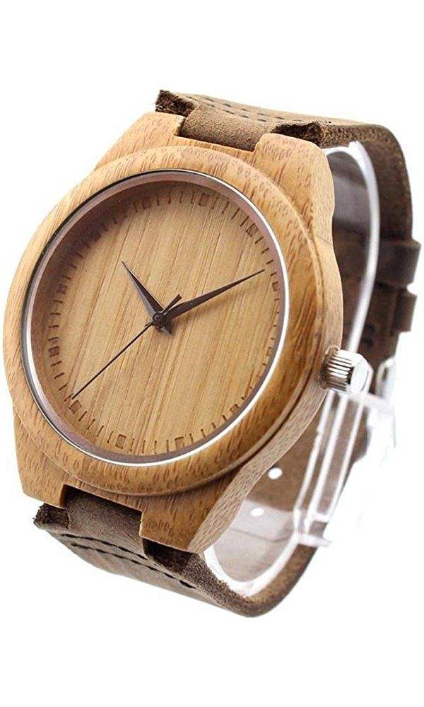Ideashop® New Vosicar Retro Leather Fashion Bamboo Wooden Watch Japan Movement Quartz With Genuine Cowhide Leather Band Casual Watches Creative Gifts For Men Best Price