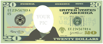 Great As A Picture From Or Art Project This Twenty Dollar Bill Has A Blank Space Instead Of President Jackson Free T Money Template Dollar Twenty Dollar Bill