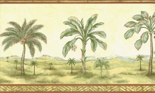 Bamboo Palm Tree Mural Wallpaper Border