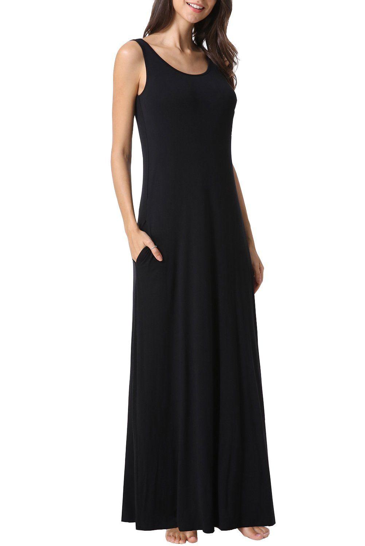 Zattcas Womens Sleeveless Tank Maxi Dress Pocket Loose Swing Summer Casual Beach Long Dress Xlarge Black1 Click Maxi Tank Dress Maxi Dress Long Beach Dress [ 1500 x 1001 Pixel ]