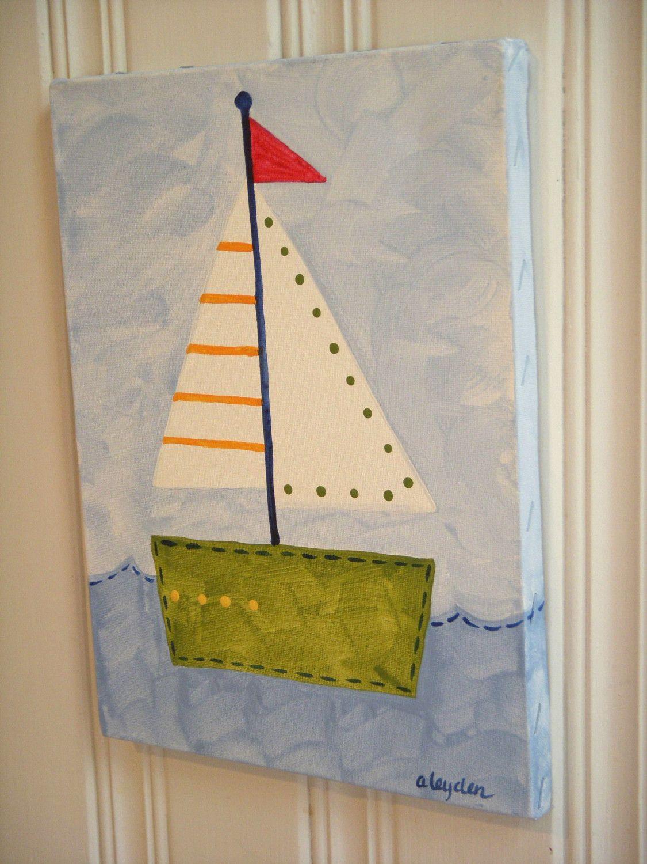 Child Boat Drawings Boys Kids Room Decor Baby Nursery