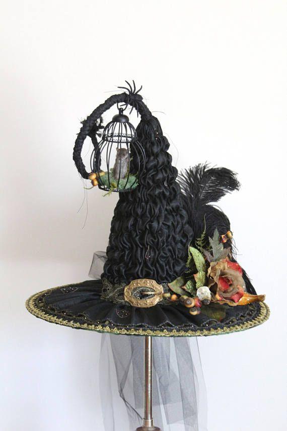 730889454 Heirloom Victorian Witch Hat by Karen Steinkraus, Made w/ Vintage ...