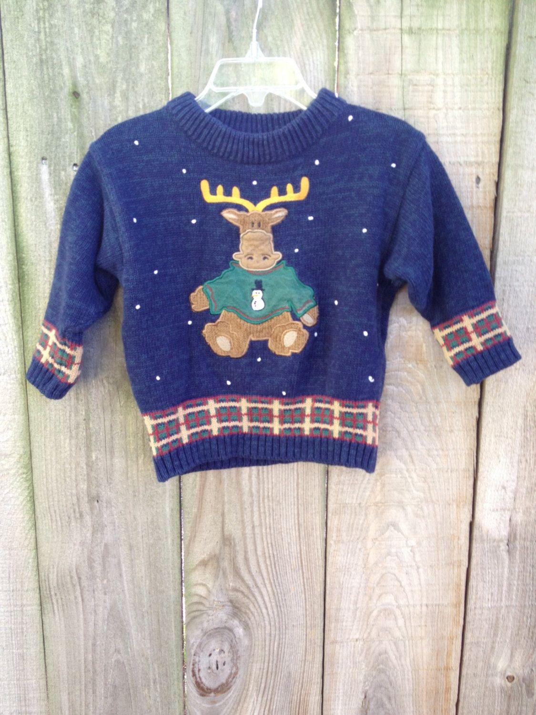 Vintage Moose Holiday Sweater by VintageModaBoutique on