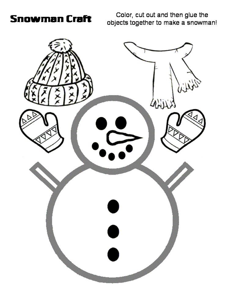 Snowflake Templates To Cut Out in the class for kids to use - snowman template