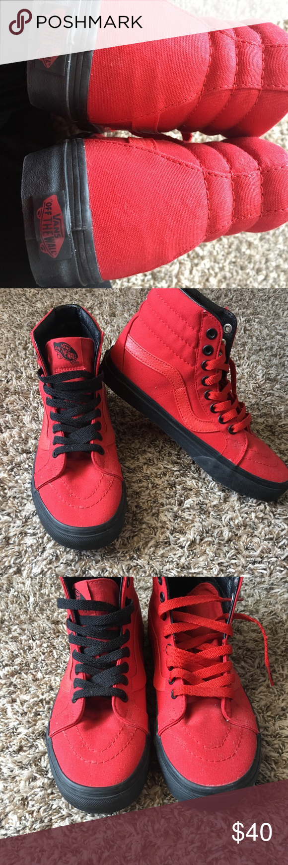 Brand new vans different color laces. Brand new vans they are high tops  size 7.5 women s i changed out the laces are originally black. vans Shoes  Sneakers 8721f9e0f3