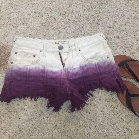 Purple Ombré Free People Jean Shorts Purple Ombré Free People Jean Shorts- Size 24- Frayed bottoms Free People Shorts Jean Shorts