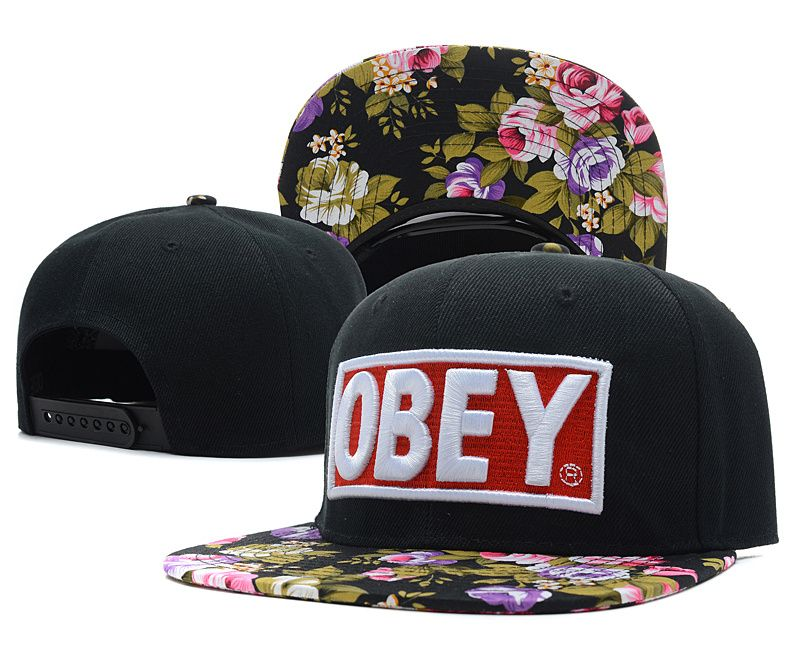 aab807cc90132 OBEY Snapback Hats Flower Black 7375! Only  8.90USD