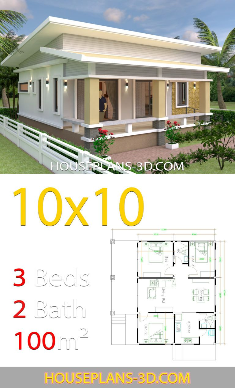 House Design 10x10 With 3 Bedrooms Full Interior House Plans 3d Architectural House Plans Bungalow House Design House Plan Gallery